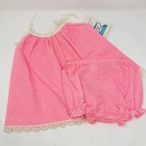 NWT vintage 2T bloomers set dress dot lace